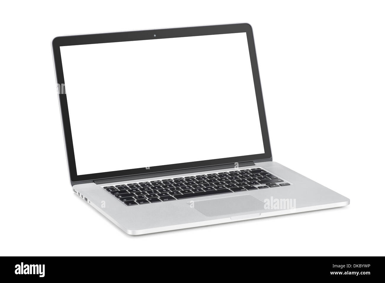 Rotated at a slight angle modern laptop with tilted back white monitor is isolated on white background. High quality. - Stock Image