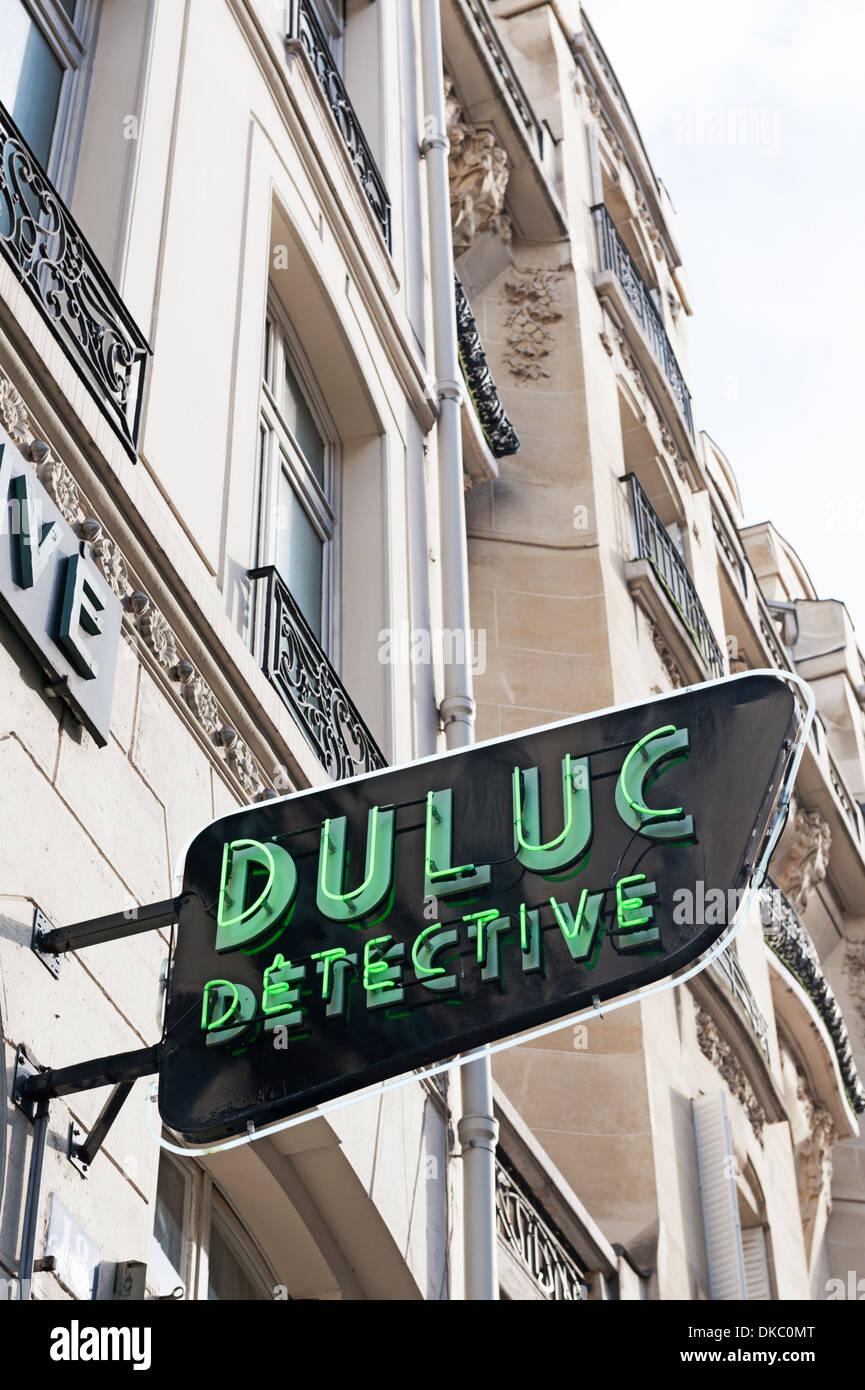 Paris, France - office of the famous Duluc Detective agency on Rue du Louvre - Stock Image
