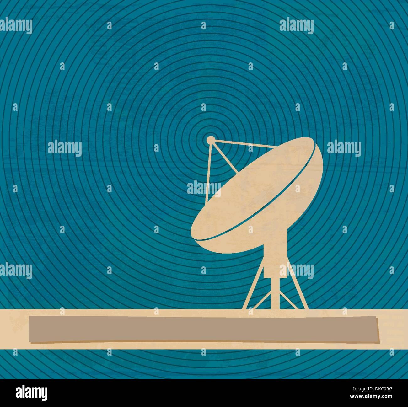 Radar translation. Satellite dishes antena. Retro poster - Stock Image