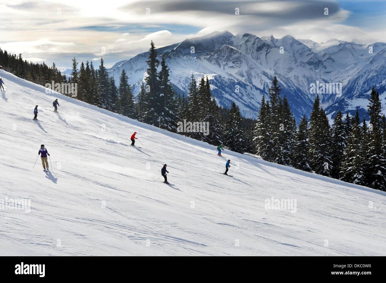 Ski resort landscape, Austrian Alps - Stock Image