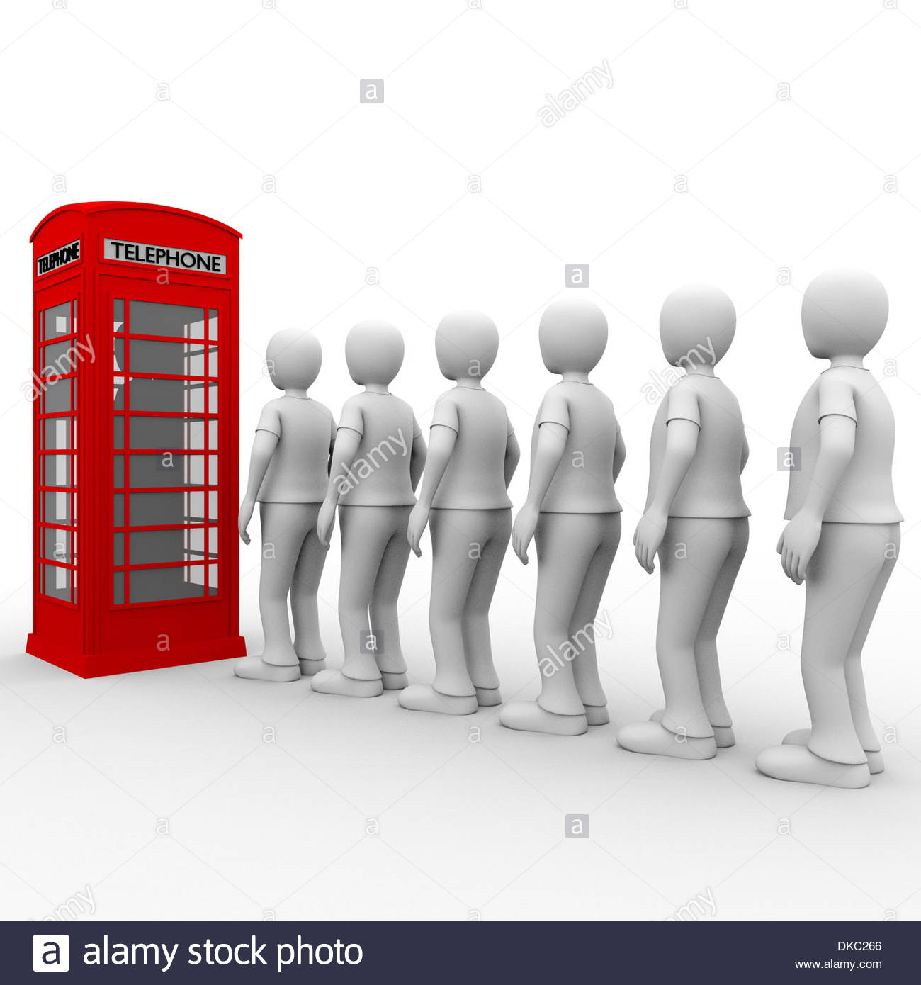 Some men in a queue for making a phone call - Stock Image