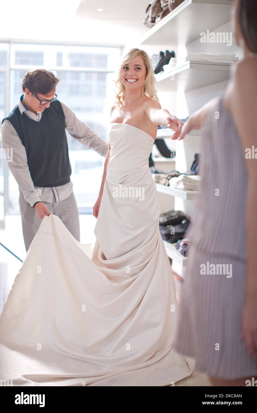 Woman Trying On Wedding Dress Stock Photo 63579565 Alamy