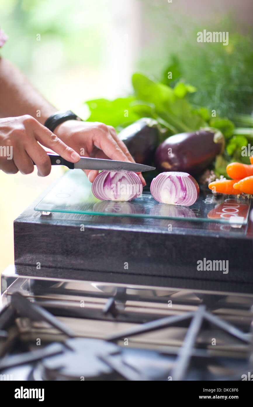 Chopped composition, hand chopping red onion - Stock Image
