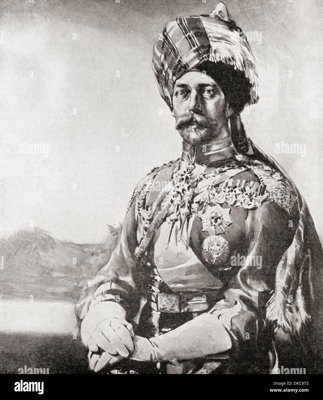 The King Emperor as Colonel-In-Chief, Lancers, Indian Army, 1914. King George V, 1865-1936 in military uniform during the First - Stock Image
