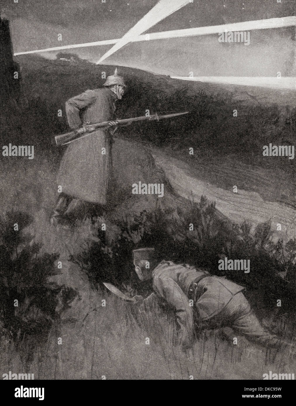A Gurkha, Indian allies during World War One, creeps up on an unsuspecting German sentry. - Stock Image