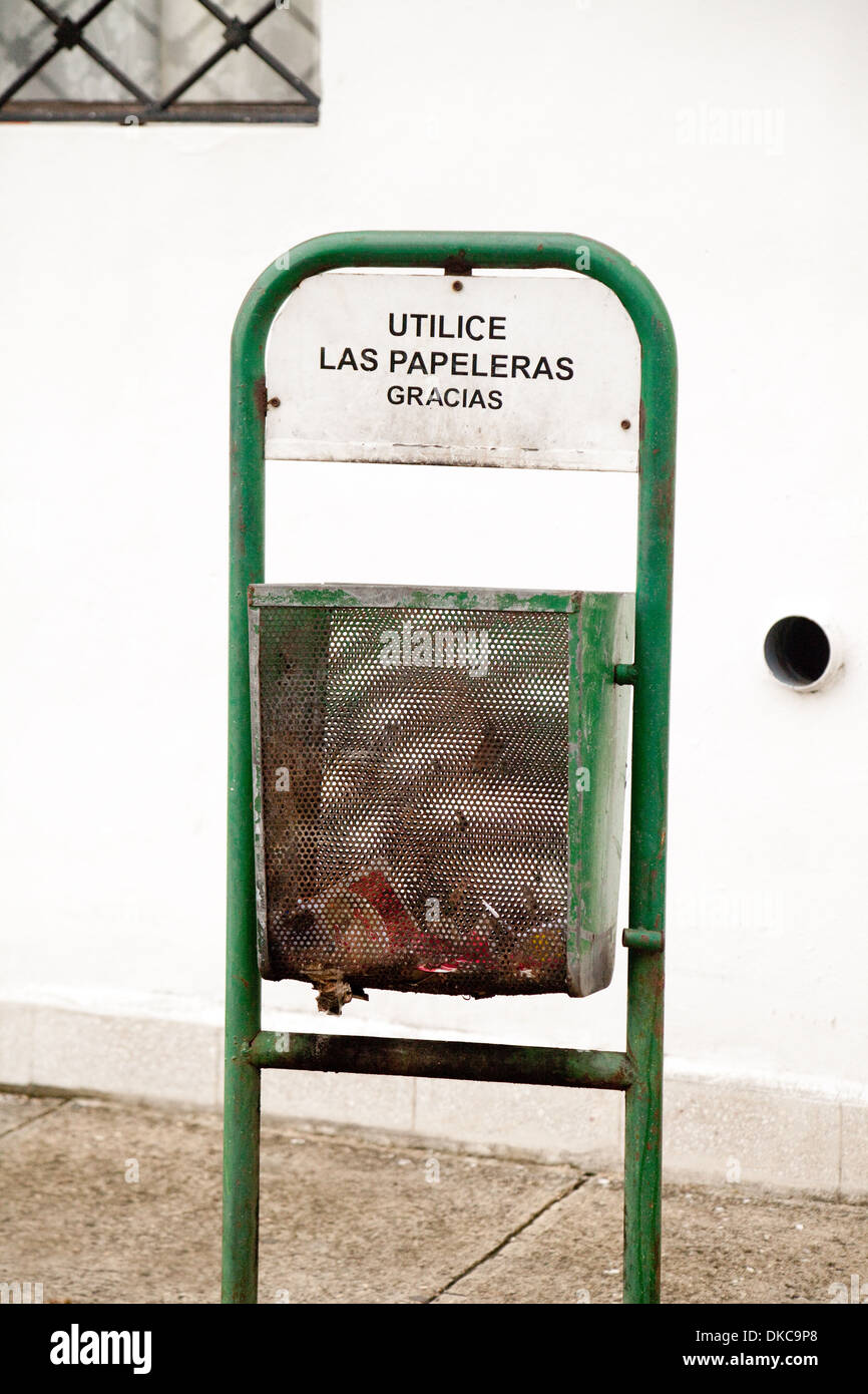 Cuban litter bin, rubbish bin or trash can, Havana, Cuba, Caribbean - Stock Image