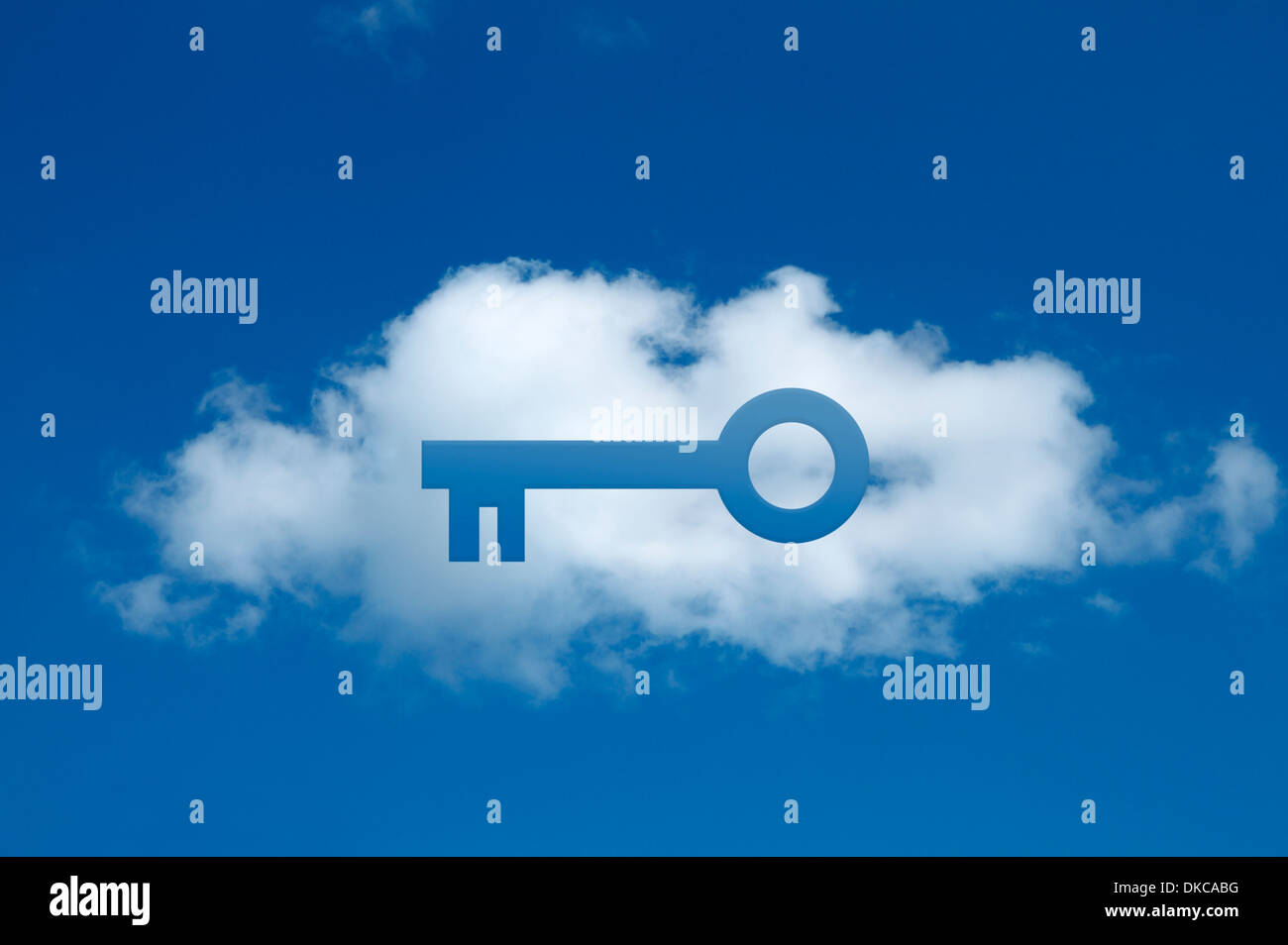 Digital composite of cloud with key shape cut out, secure cloud commitment - Stock Image