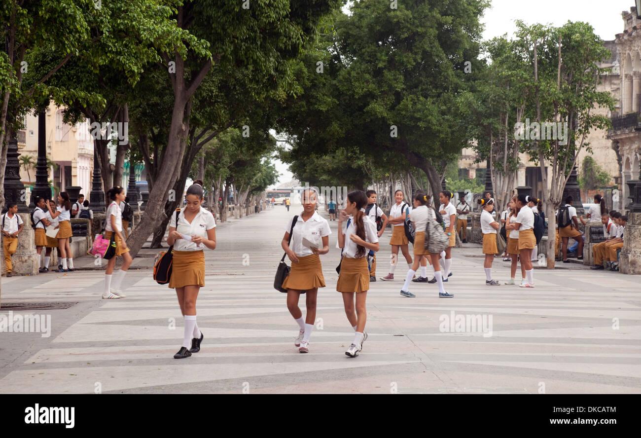 Teenage Cuban schoolchildren, schoolgirls,  in uniform in the morning going to school, The Prado, Havana, Cuba Caribbean - Stock Image
