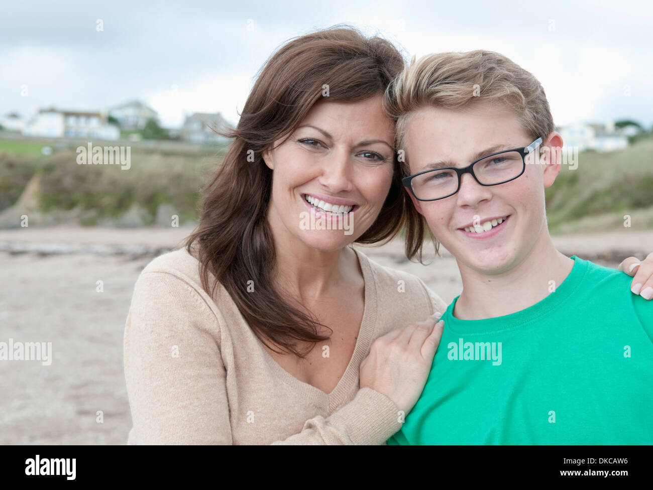 Portrait of mother and teenage son - Stock Image