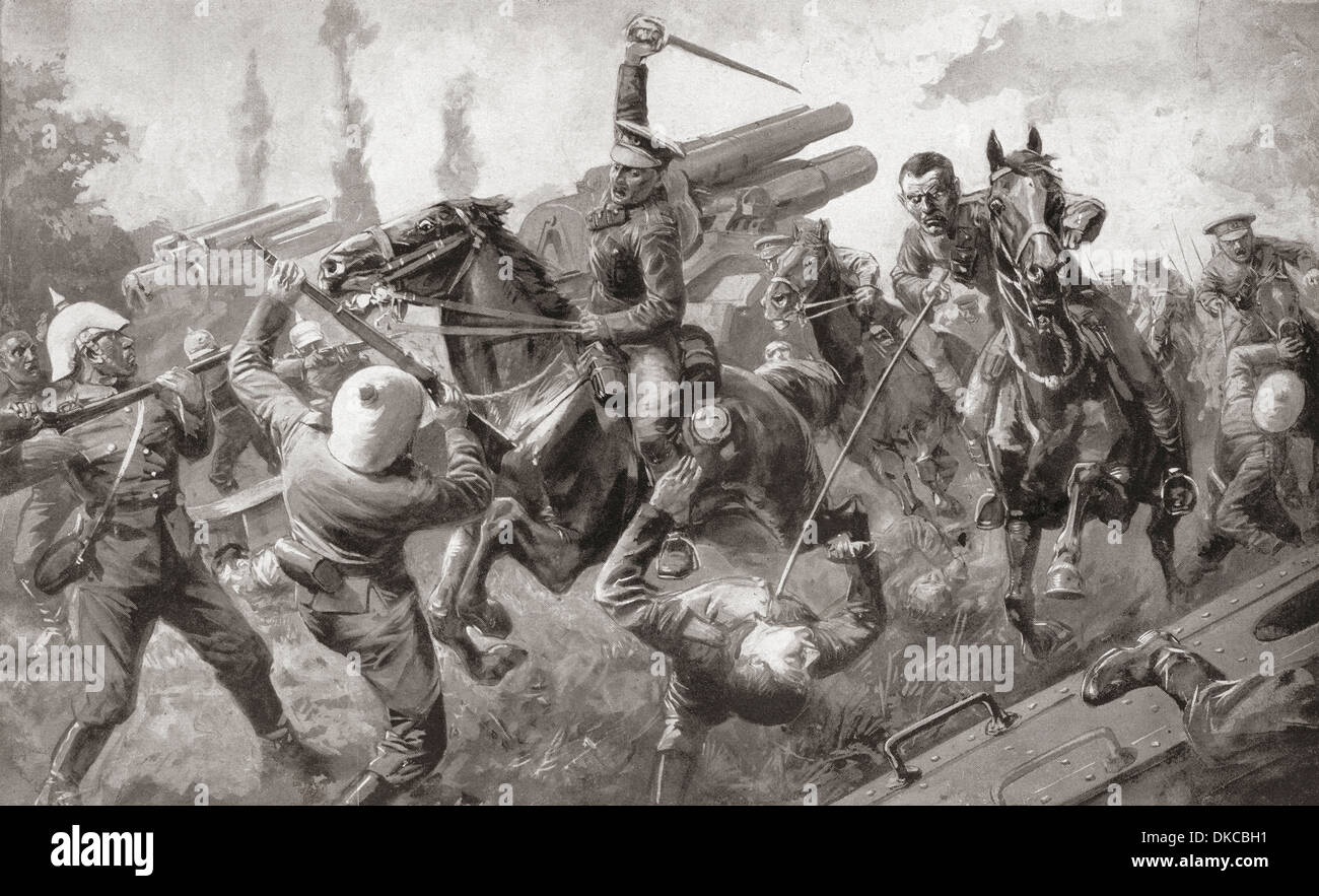 The charge of the 9th Lancers, or Delhi Spearmen, during the great retreat from Mons to Cambrai, during WWI in 1914 - Stock Image