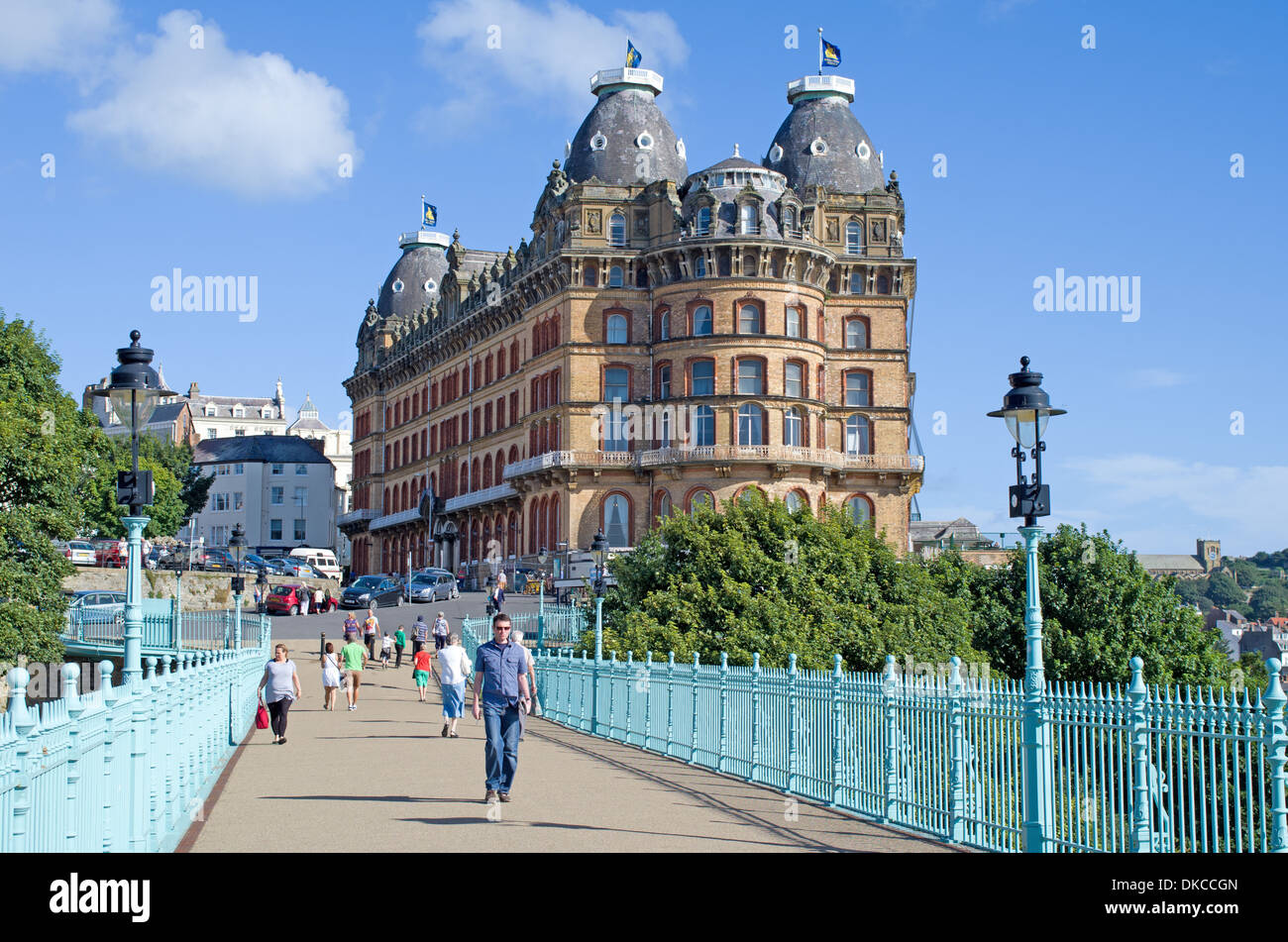 View of grand Hotel Scarborough North Yorkshire from foot bridge Stock Photo