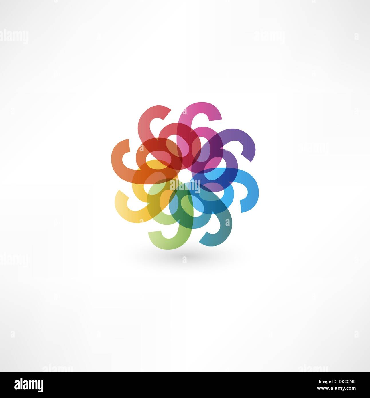 Full color abstract figure of the numbers 6 - Stock Image