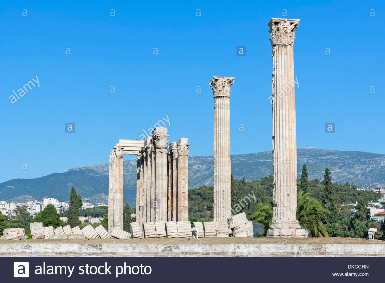 Temple of Olympian Zeus, Athens, Greece, Europe - Stock Image