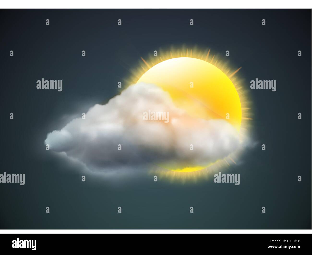 Vector illustration of cool single weather icon - sun with cloud floats in the dark sky Stock Vector