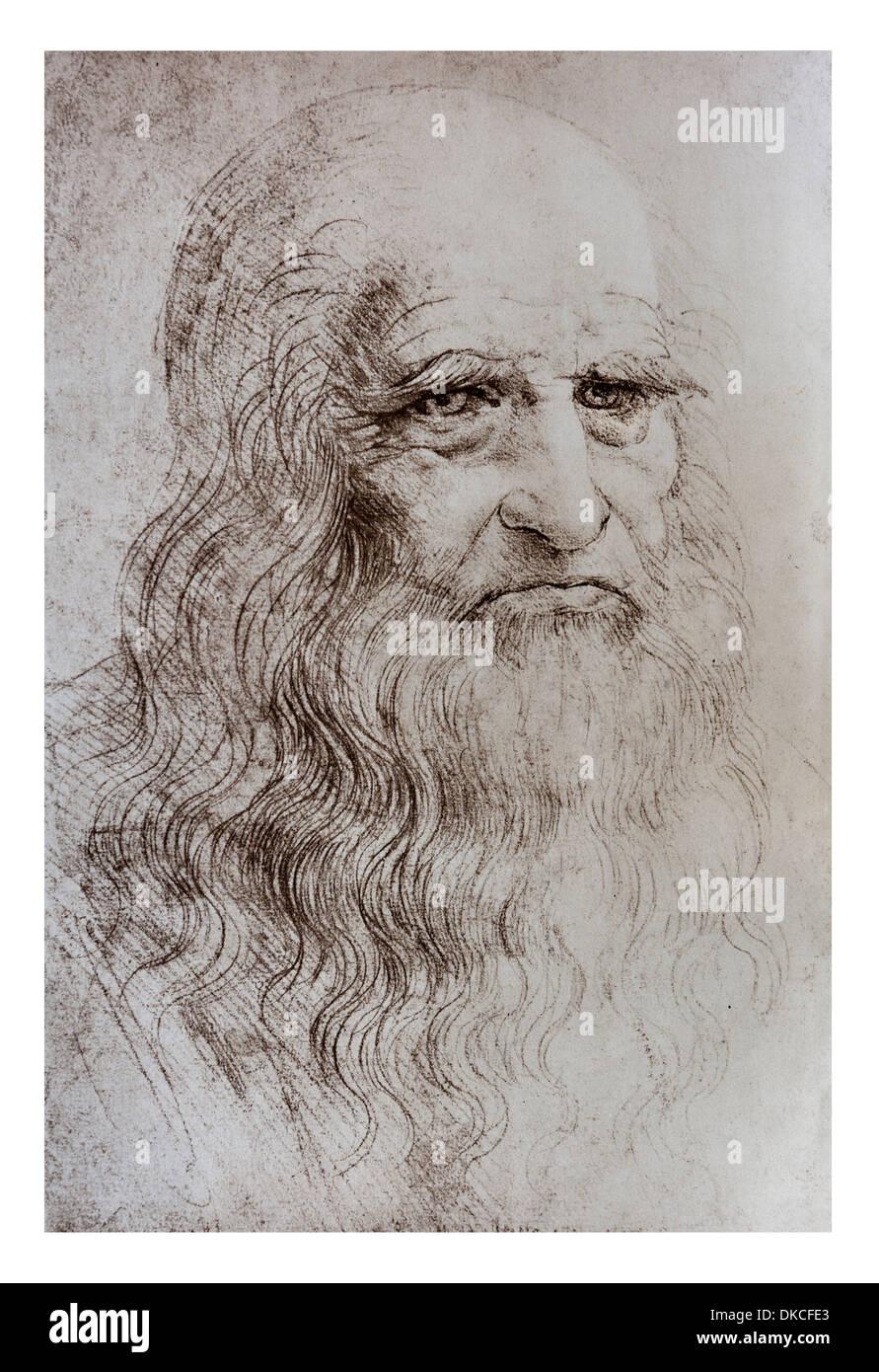 A Leonardo Da Vinci Self Portrait in Red chalk - Turin Royal LIbrary - Stock Image