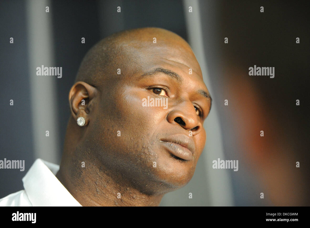 Sep. 22, 2011 - Moscow, Russia - American professional boxer JAMES TONEY at Agalarov residence of Moscow to promote his fight vs Russia's boxer D. Lebedev. James Toney is back in the combat sport and will fight Lebedev on November 4, 2011. (Credit Image: © PhotoXpress/ZUMAPRESS.com) - Stock Image