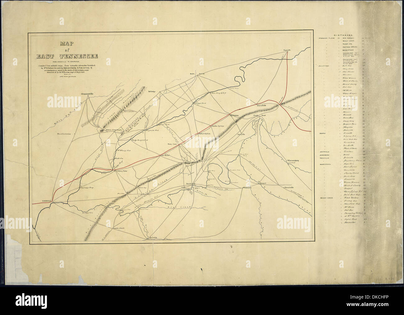 Map Of East Tennessee From Knoxville To Rogersville Compiled From