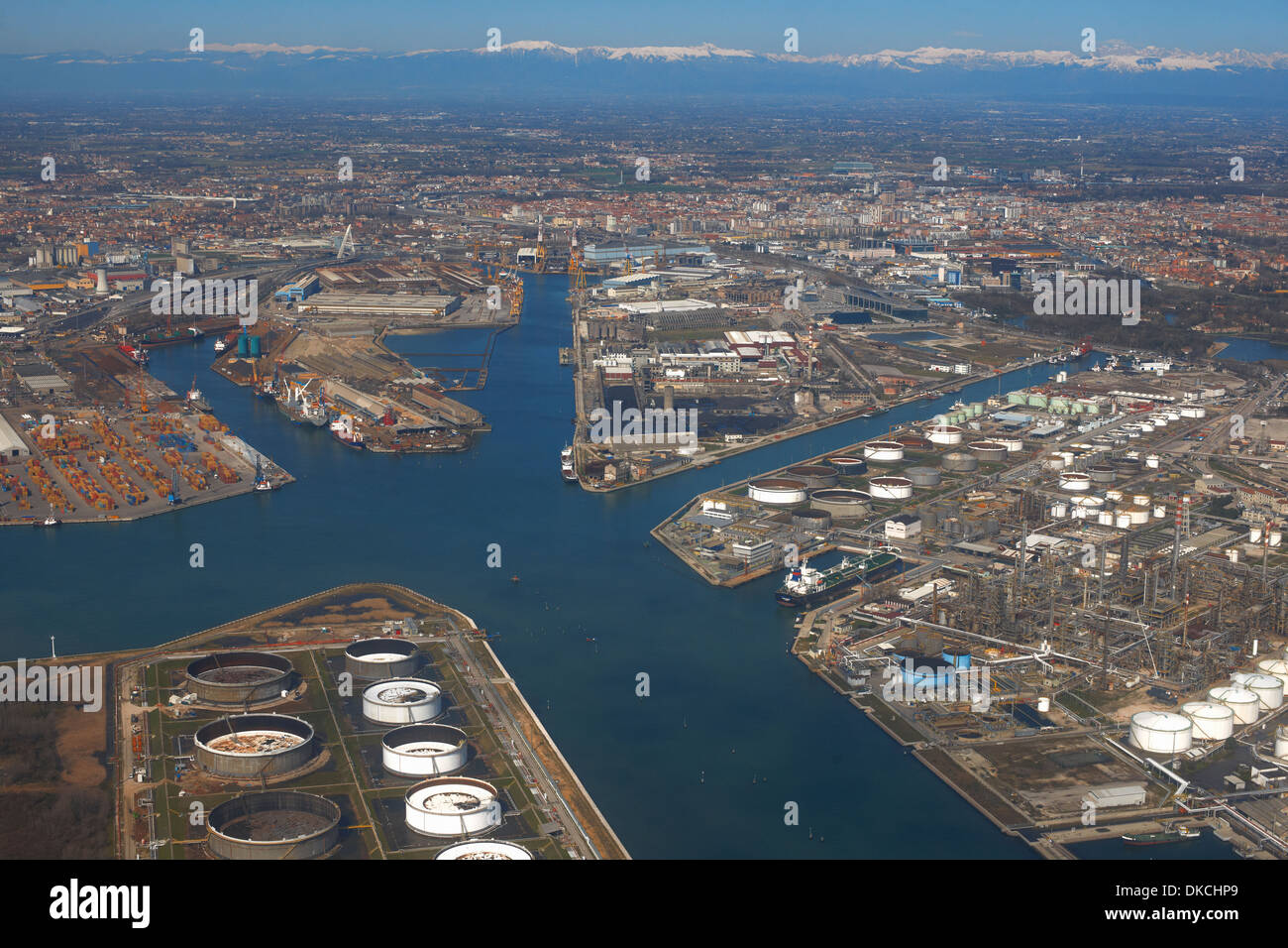 Aerial view of industrial port, Venice, Italy - Stock Image