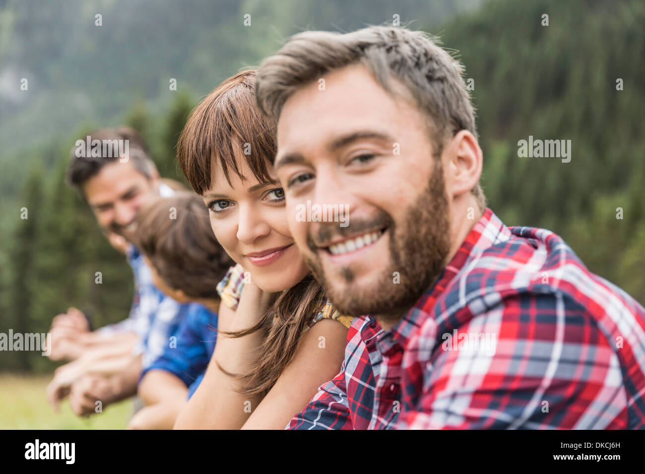 Friends in holiday snapshot - Stock Image