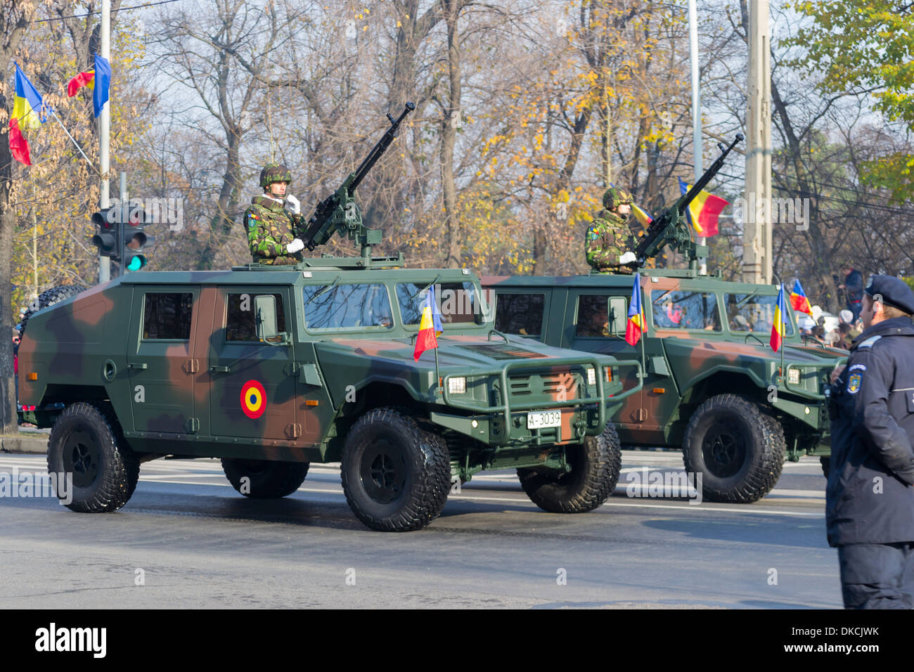 URO VAMTAC armoured fighting vehicles - December 1st, Parade on Romania's National Day - Stock Image