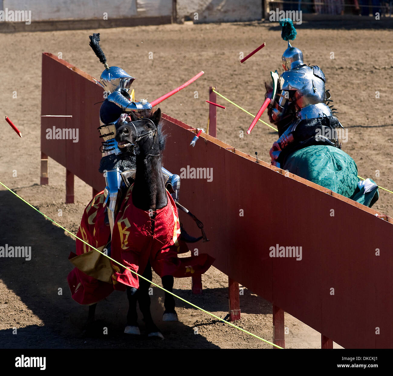 Oct. 23, 2011 - Poway, California, USA -  Breakaway lances shatter into shards as knights engage in a joust at the Stock Photo