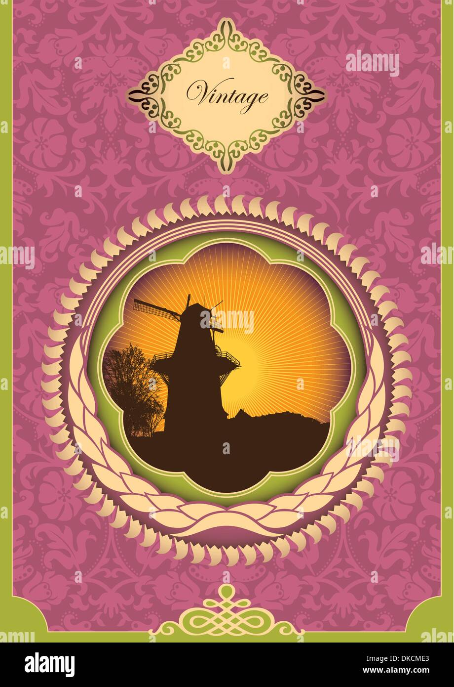 Vintage poster with windmill - Stock Image