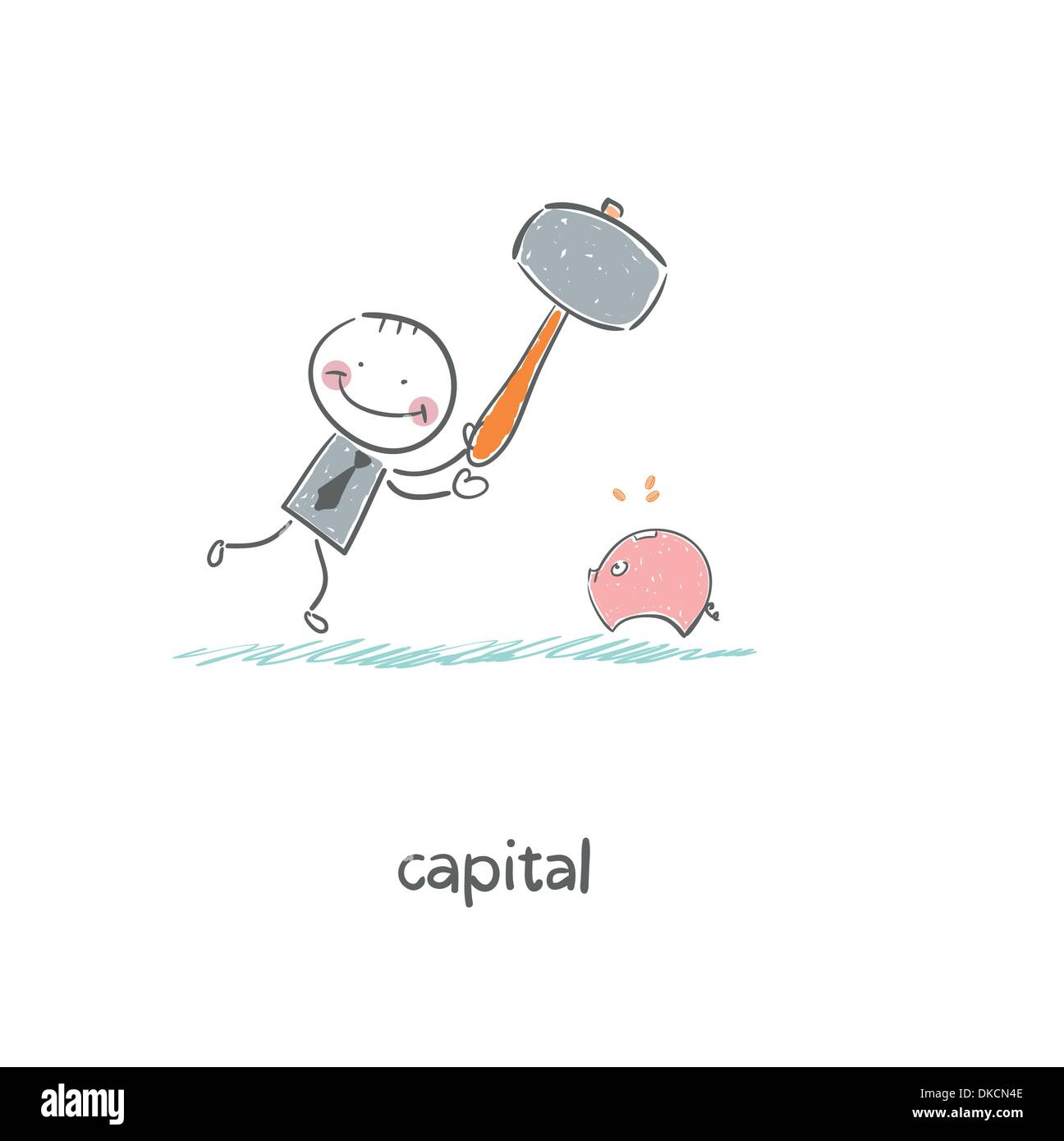 Man breaks piggy bank with a hammer. Illustration. - Stock Vector