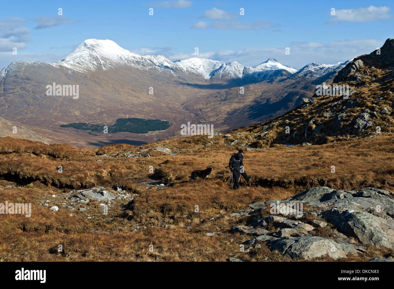 Ladhar Bheinn and upper Glen Guiserein from the slopes of Meall Gaothar, Knoydart peninsula, Highland region, Scotland, Stock Photo