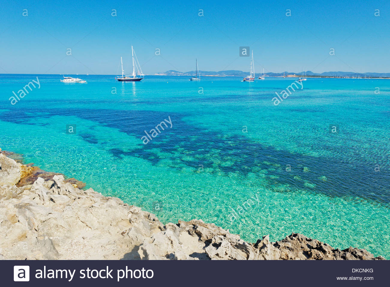 Ses Illetes beach, Formentera, Balearic Islands, Spain - Stock Image