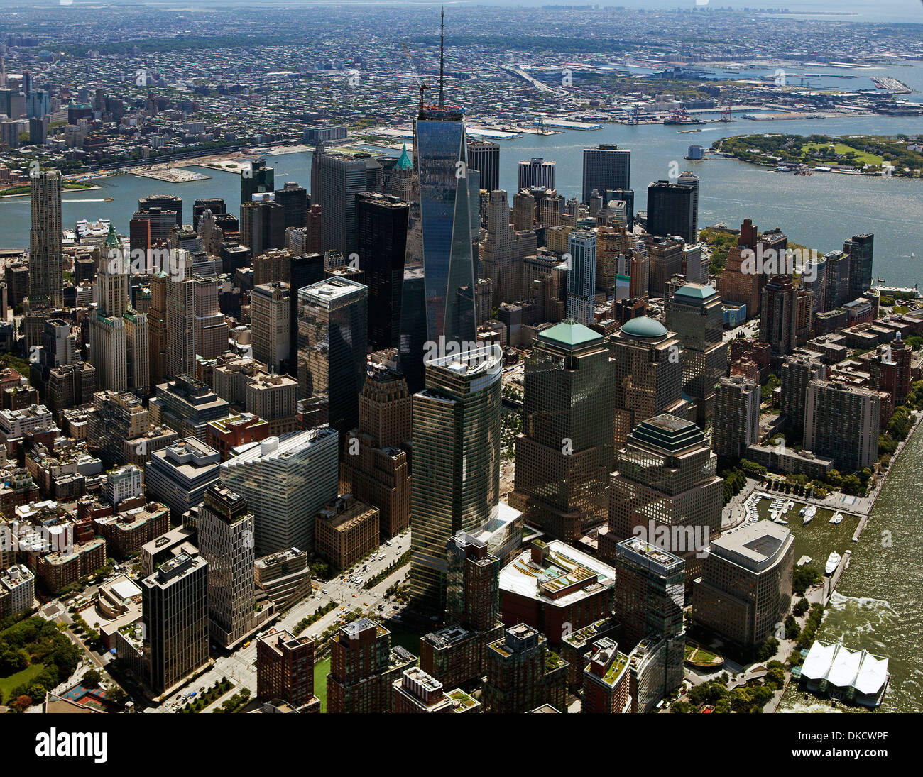 aerial photograph One World Trade Center, World Financial Center, Lower Manhattan, New York City - Stock Image