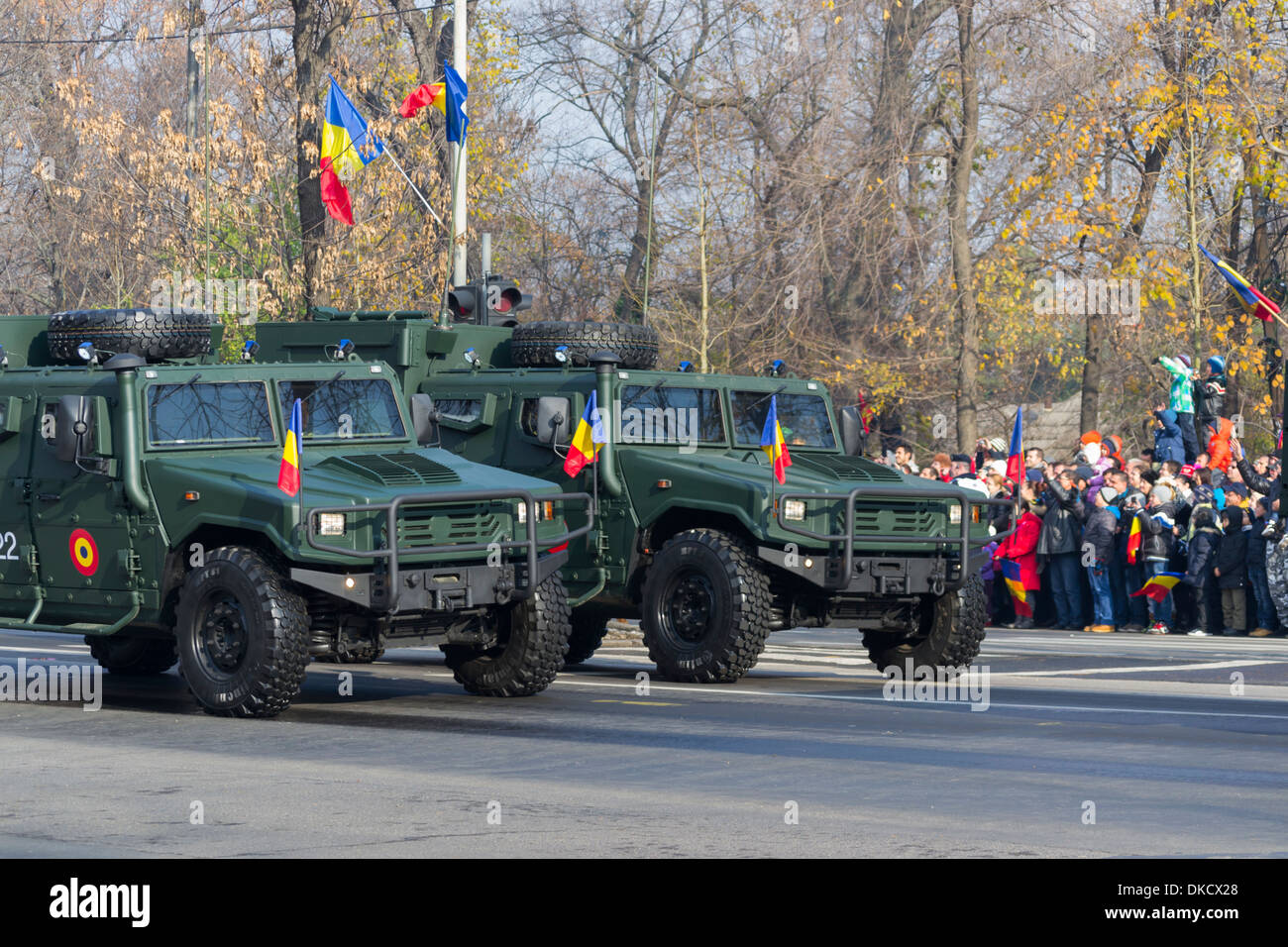 URO VAMTAC radio station vehicles - December 1st, Parade on Romania's National Day - Stock Image