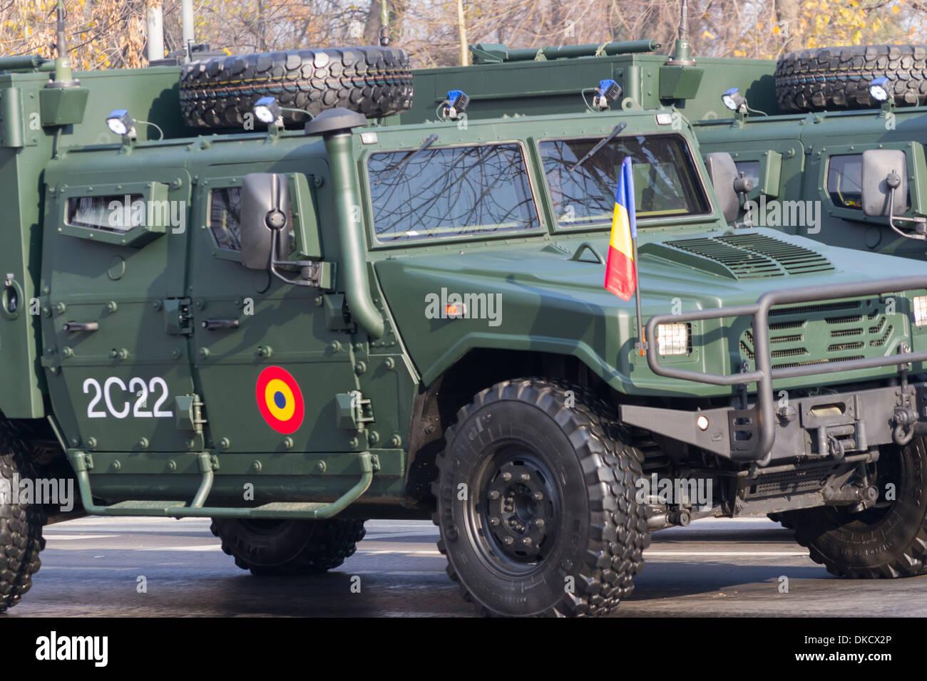 URO VAMTAC radio station vehicle - December 1st, Parade on Romania's National Day - Stock Image
