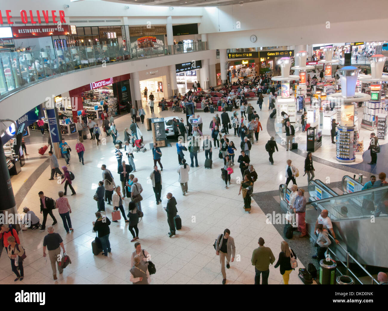 The main departure lounge and duty free area inside Gatwick Airport UK - Stock Image
