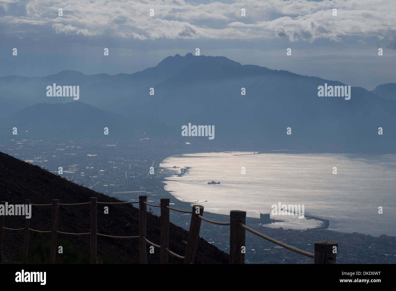 View from Mount Vesuvius (a stratovolcano) over the Gulf of Naples, Italy - Stock Image