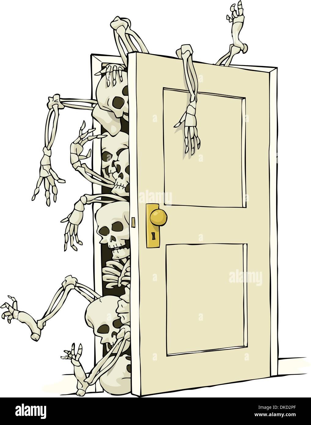 Cartoon Skeletons In The Closet Vector Illustration Stock