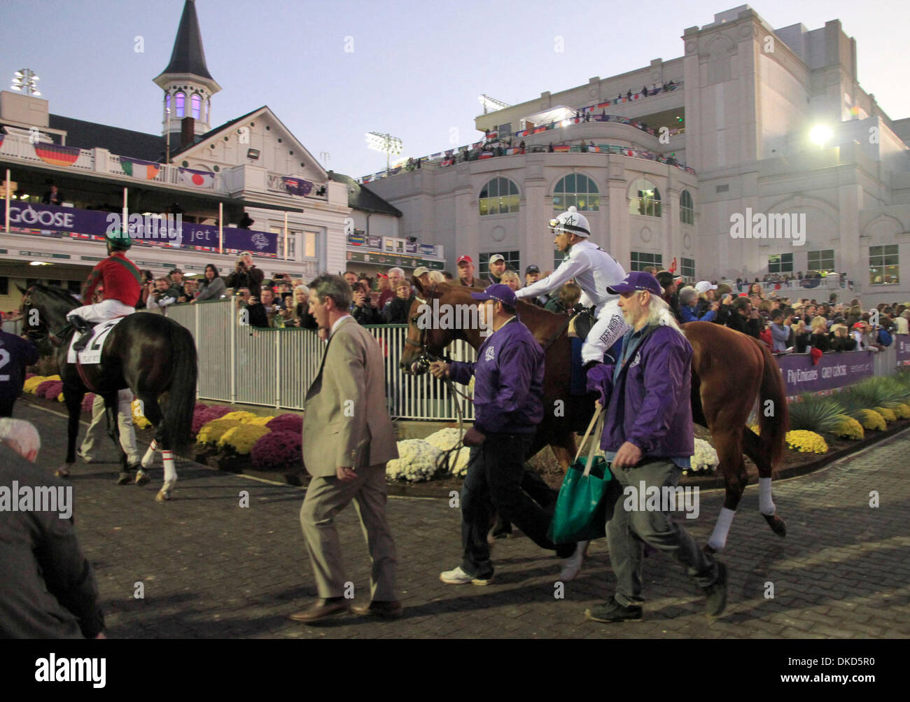 Nov. 5, 2011 - Louisville, KY, USA - Drosselmeyer and Mike Smith exit the paddock prior to the Breeder's Cup Classic (G1) held at Churchill Downs in Louisville Saturday, Nov. 05, 2011. Photo by Ron Garrison   Staff. (Credit Image: © Lexington Herald-Leader/ZUMAPRESS.com) - Stock Image
