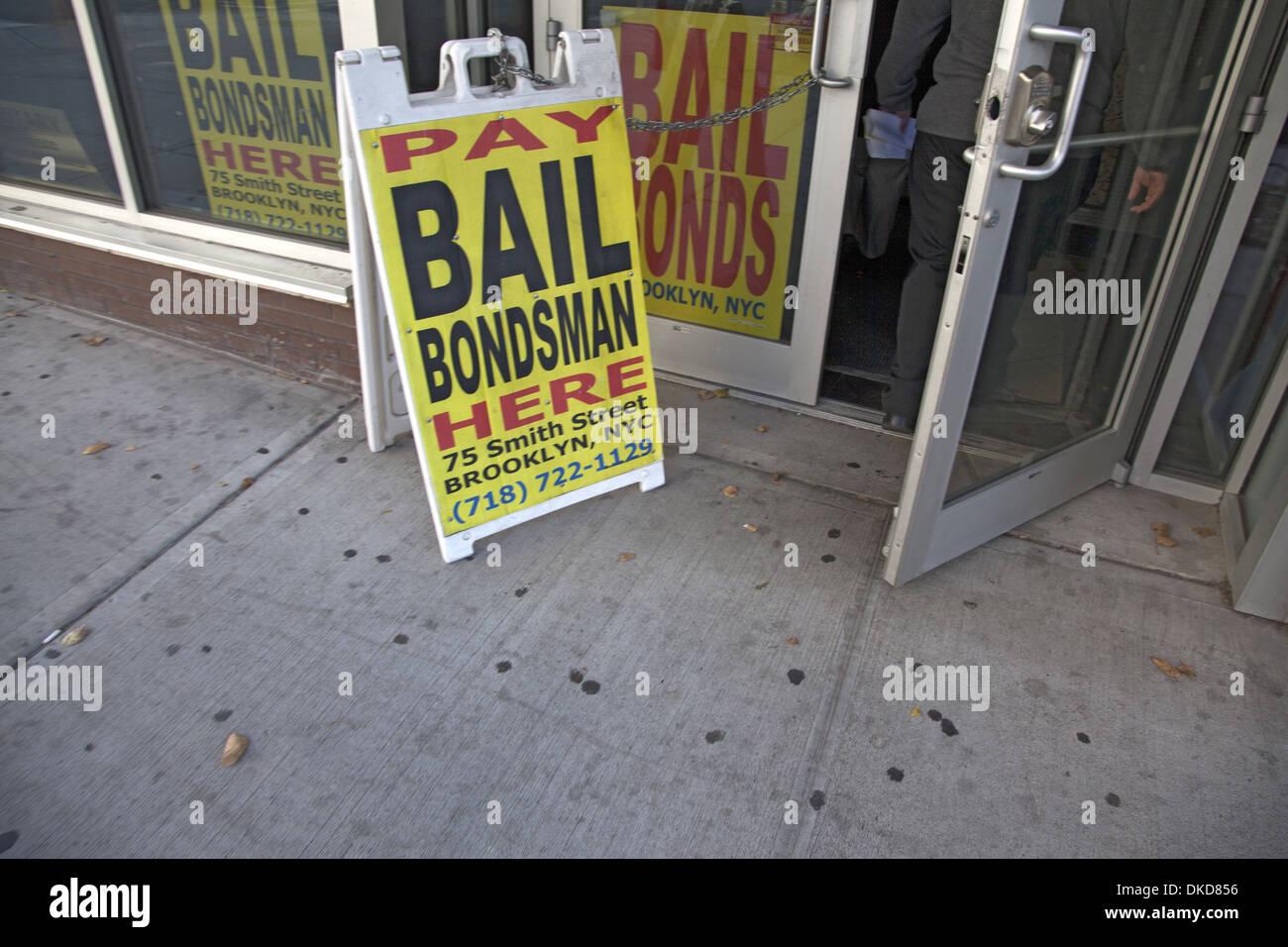 Bail Bondsman across the street from the city jail in Brooklyn, NY. - Stock Image