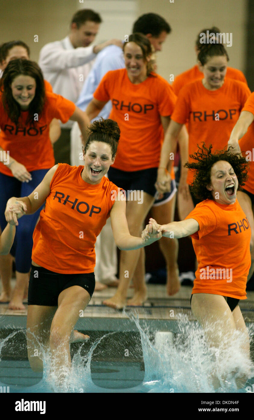 Mar 10, 2007 - Minneapolis, MN, USA - Auburn University swimmers take the plunge after Auburn took the team championship during the NCAA Division I swimming and diving championships at the University of Minnesota. (Credit Image: © David Joles/Minneapolis Star Tribune/ZUMA Press) RESTRICTIONS: USA Tabloid RIGHTS OUT! - Stock Image