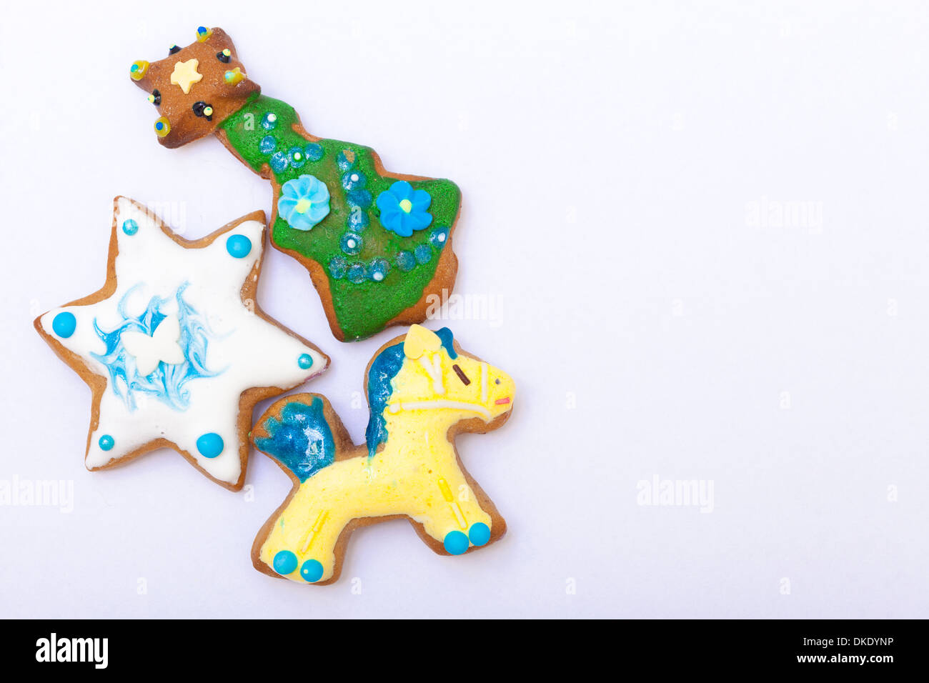 Christmas Snacks Gingerbread Star Tree And Horse Cookies White