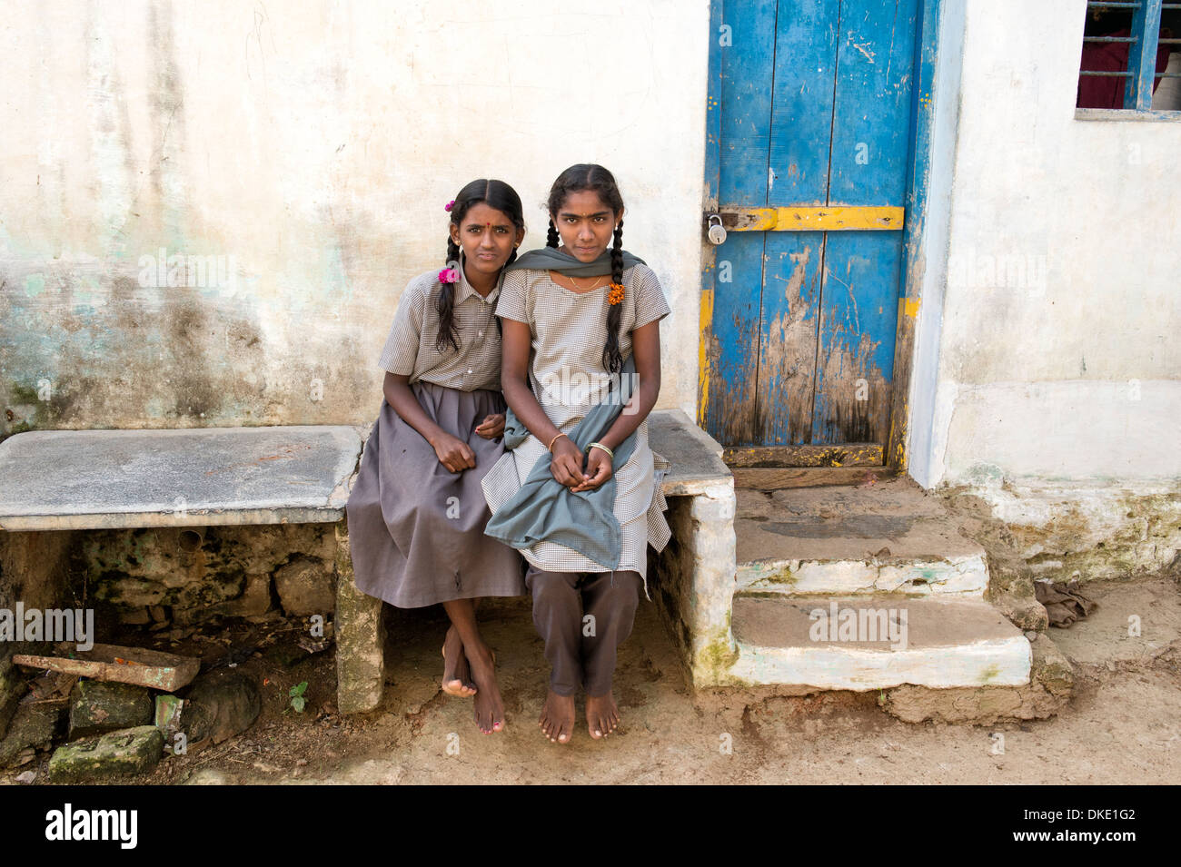 Rural Indian School Girls At In Their Village Andhra Pradesh India Stock Image