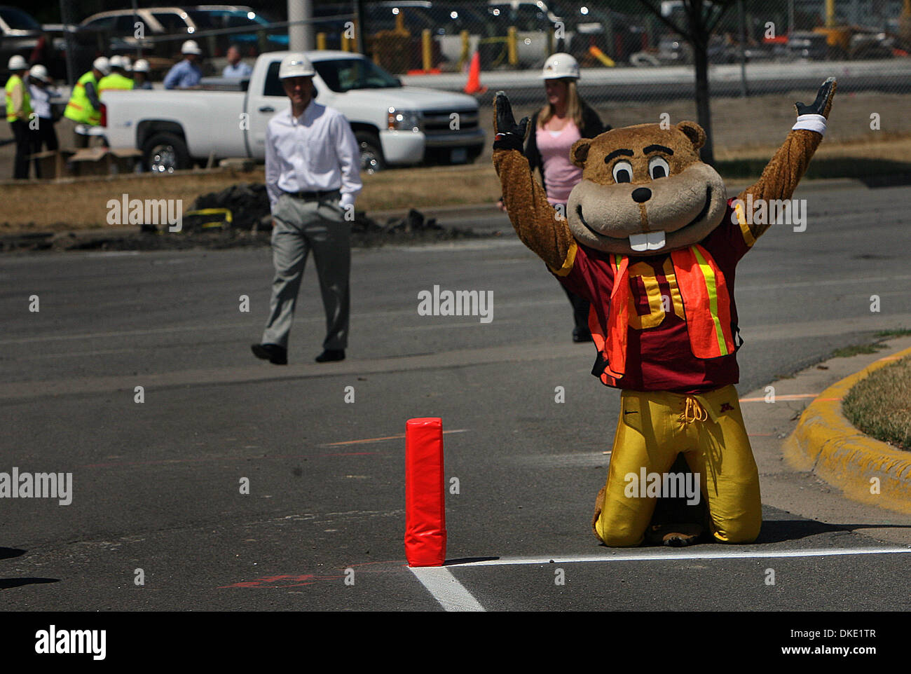 July 11th, 2007 - Minneapolis, MN, USA - University of Minnesota mascot Godly Gopher plays in what will be an end zone in the new stadium at the on-campus construction site. Officials from the U of M, construction companies and others gathered to unveil the new TCF Bank Stadium logo and to kick off the stadium construction phase.  (Credit Image: © Jim Gehrz/Minneapolis Star Tribune - Stock Image