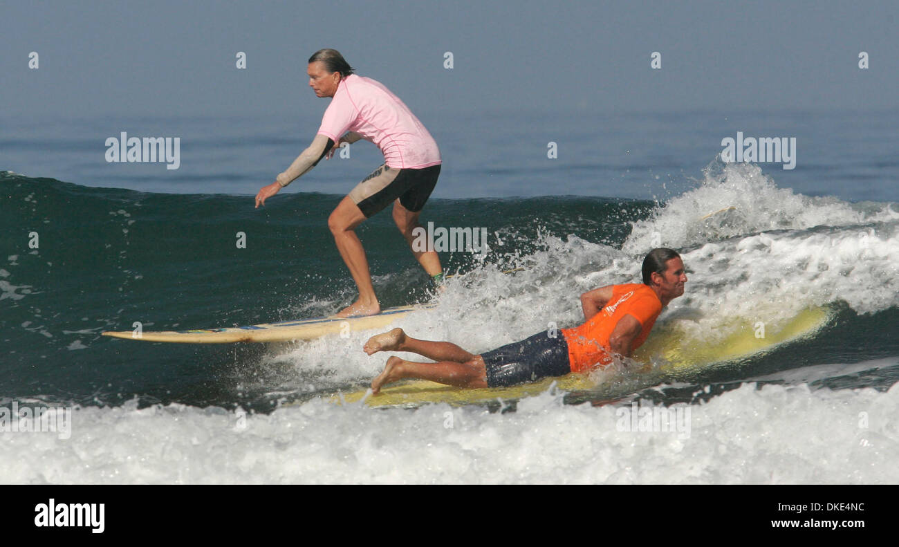 Aug 19, 2007 - La Jolla, California, USA - JOYCE HOFFMAN was the Womans World Champion five times in the 1960s. She surfed by ROBERT 'WINGNUT' WEAVER during the 14th Annual Luau and Longboard Invitational at Scripps Institute of Oceanography. The money raised by the event goes to Cancer Research.    (Credit Image: © Kohlbauer Don/San Diego Union Tribune/ZUMA Press) RESTRICTIONS: LA - Stock Image