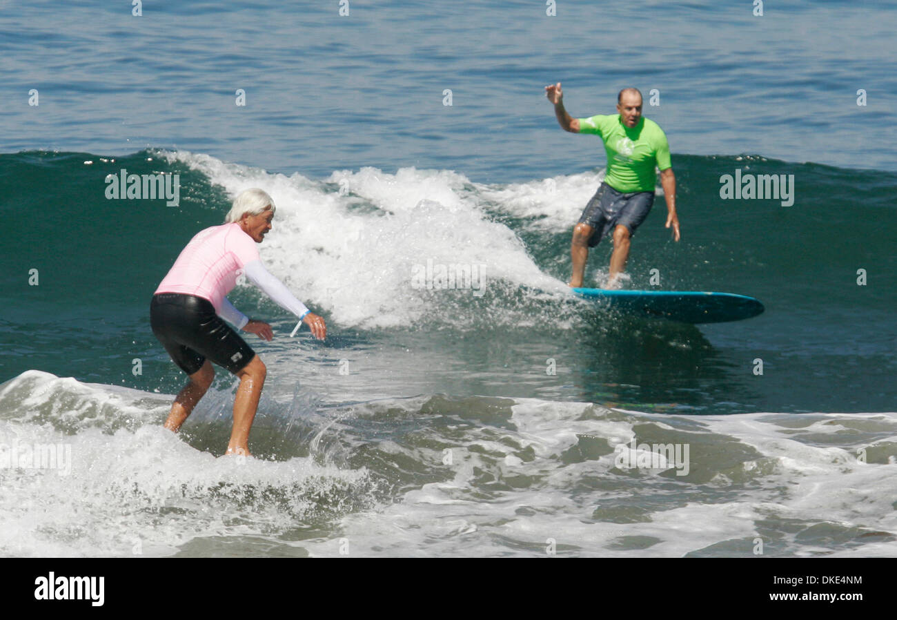Aug 19, 2007 - La Jolla, CA, USA - Surfers DAVID NUUHIWA (left) and DENNY AABERG at the 14th Annual Luau and Longboard Invitational at Scripps Institute of Oceanography. (Credit Image: © Kohlbauer Don/SDU-T/ZUMA Press) RESTRICTIONS:  LA and Orange County Papers RIGHTS OUT! and USA Tabloid RIGHTS OUT! - Stock Image
