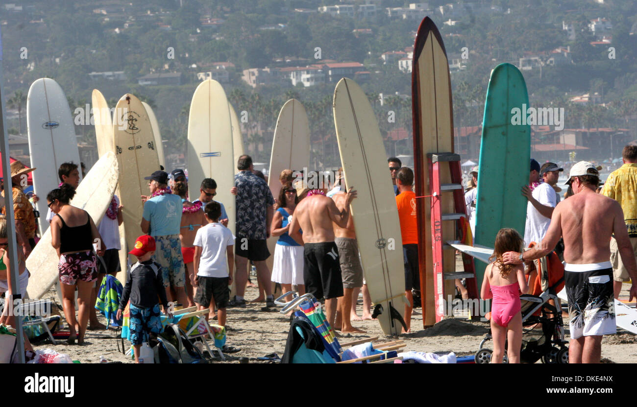 Aug 19, 2007 - La Jolla, CA, USA - Surfers at the 14th Annual Luau and Longboard Invitational at Scripps Institute of Oceanography. (Credit Image: © Kohlbauer Don/SDU-T/ZUMA Press) RESTRICTIONS:  LA and Orange County Papers RIGHTS OUT! and USA Tabloid RIGHTS OUT! - Stock Image