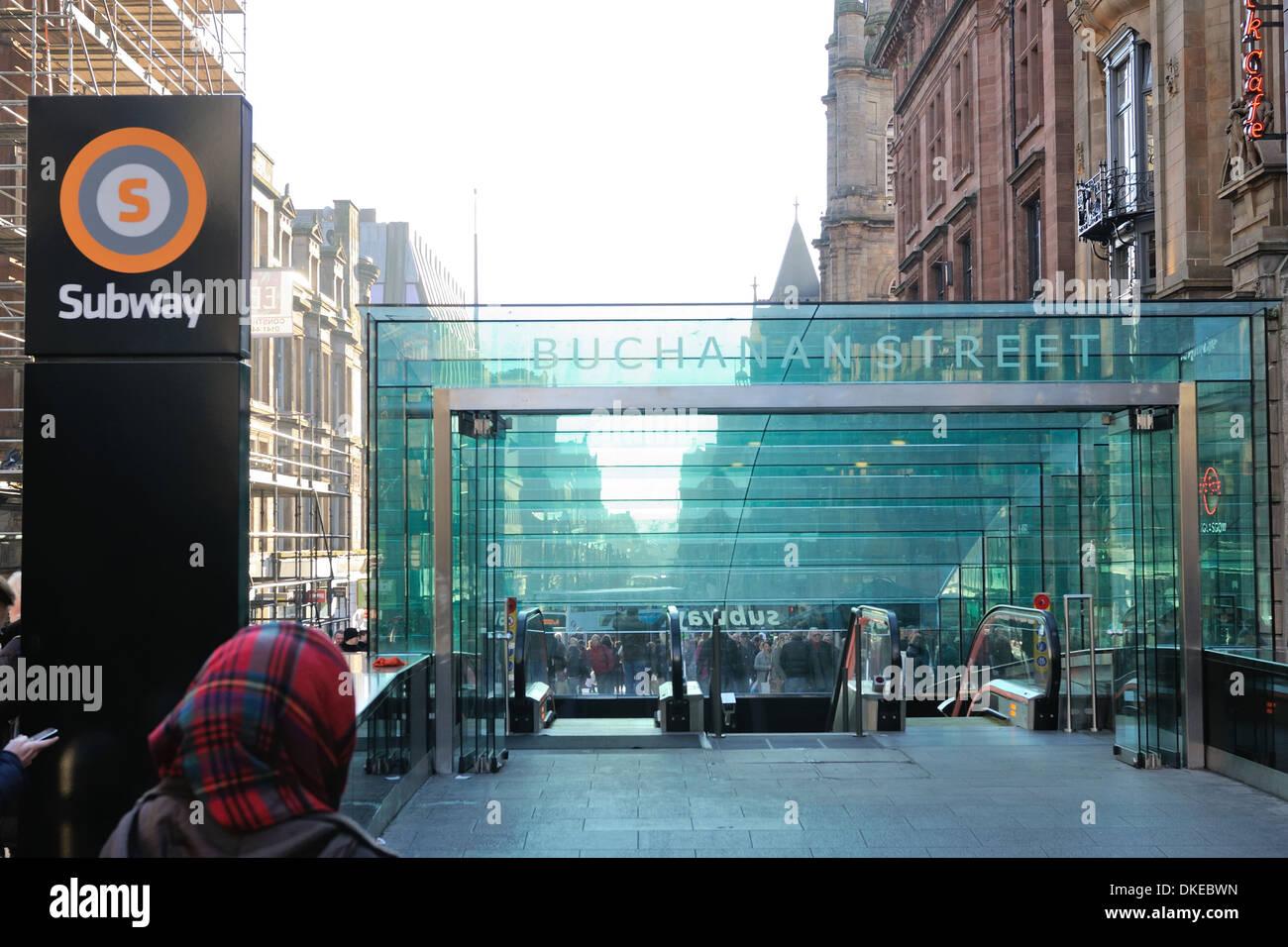 Buchanan Street subway station in Glasgow, Scotland, UK. - Stock Image