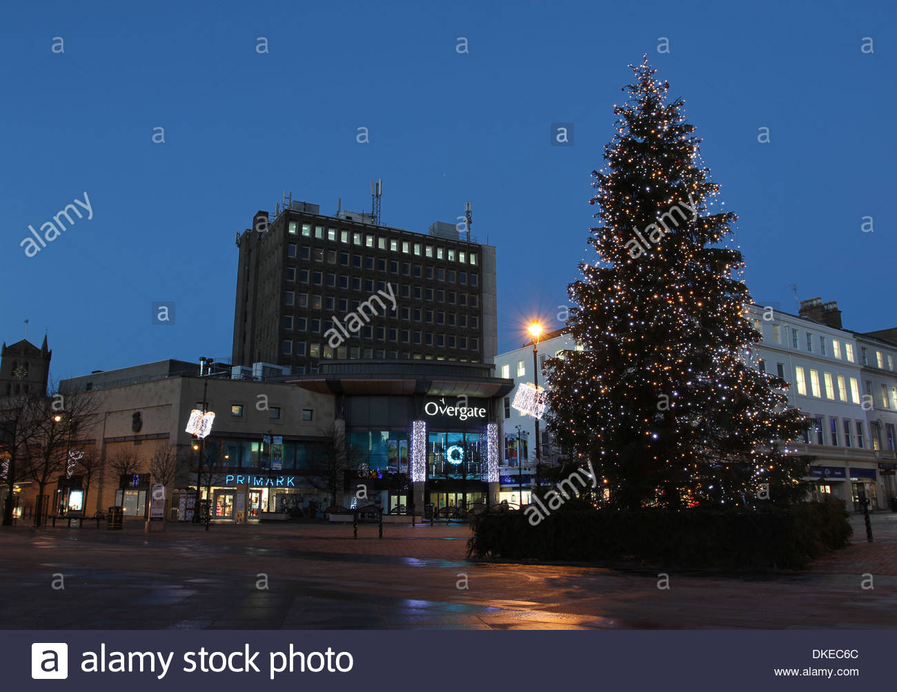 Christmas tree and Overgate shopping centre Dundee Scotland  December 2013 - Stock Image