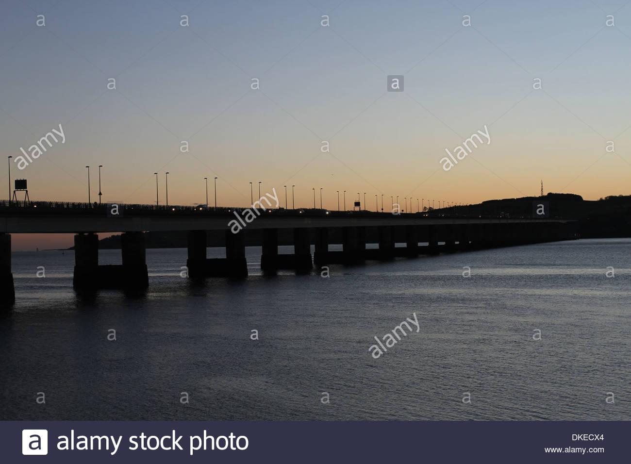 Tay Road bridge at dawn Dundee Scotland  December 2013 - Stock Image