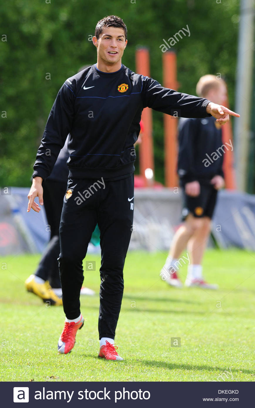 Cristiano Ronaldo Of Manchester United Enjoys Training Before The Champions League Cup Final In Rome