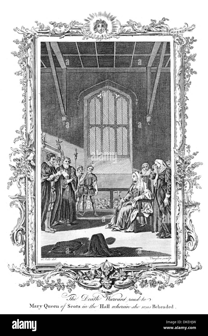 The Death Warrant read to Mary Queen of Scots in the Hall of Fotheringay Castle wherein she was Beheaded - Stock Image