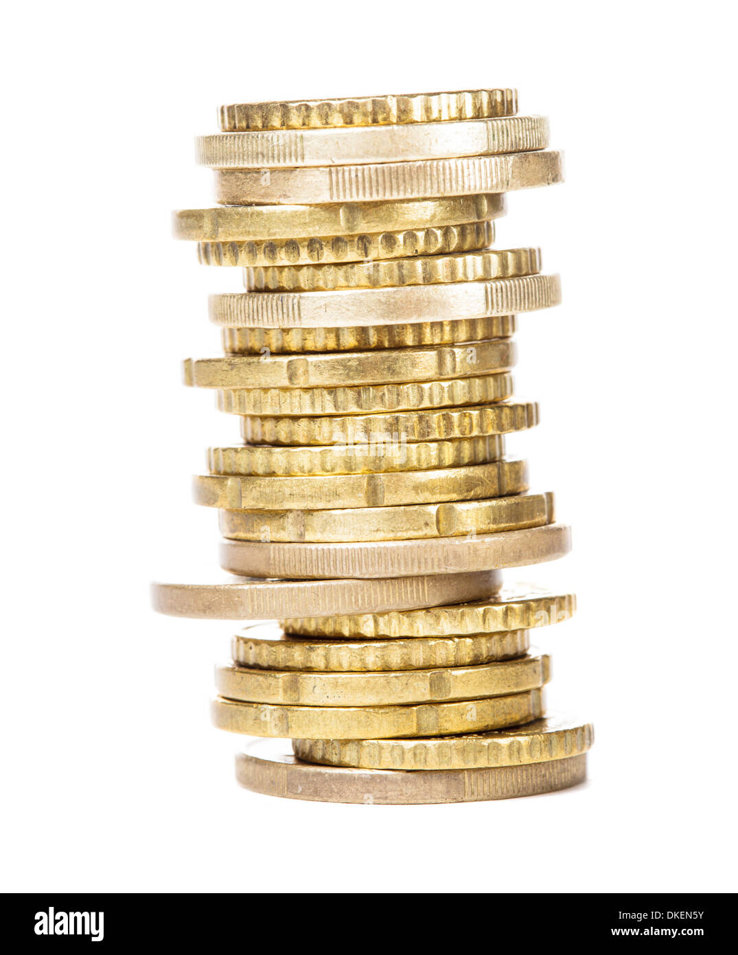 The tower of golden coins isolated on white - Stock Image